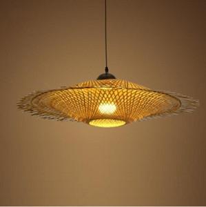 Sombra de bambú Cap mimbre de pendiente de la luz Fixture asiática del japonés colgante de la lámpara de techo Comedor Restaurante LLFA