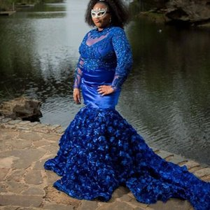 Royal Blue Mermaid Prom Dresses Long Sleeves Jewel Neck Beaded Plus Size Evening Gowns Appliqued Sweep Train Satin Formal Dress