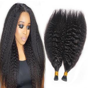 cheveux kératine vierge indienne Memory Stick Tip I Tip Extensions de cheveux humains Kinky bouclés droite avant Bond Extension de cheveux naturels Noir Brun Blond