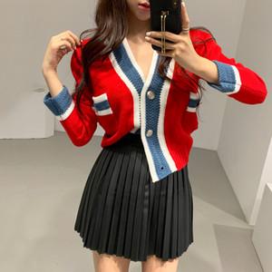 CHIC élégant col V Couleurs mélangées tricotées Cardigan Femmes court Knitwear Printemps et Automne Tricoté manteau