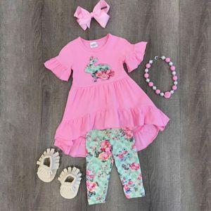 2018 Rosa Páscoa New Kids Páscoa 3Pcs Doce Baby Girl Outfit Vestido Ruffles T-shirt calças Crianças roupas de verão Definir