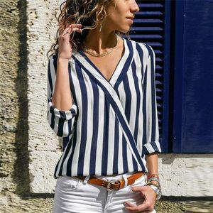 Women Chemise Spring V-Neck Panelled Blouse Stripe Pipping New Autumn Fashion Luxury Designer Shirts Tops Long Sleeved