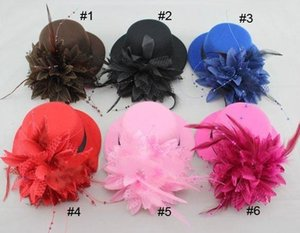 Fascinator Dance Event Party millinery Hats Lady Feather Dots Net Hair Clip Mini Top Hat Women bride Cap hen night props gifts