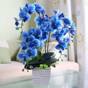 10pcs 70cm Art und Weise Orchidee künstliche Blumen Diy Artificial Waldhyazinthe Silk Blumenstrauß Phalaenopsis Hochzeit Home Decoration