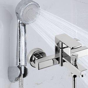 Dofaso Chrome Bathtub Faucet Wall Mount Hot Cold Water Mixer Tap Bath Shower Faucet Tap Robinet Baignoire Bathroom Mixer
