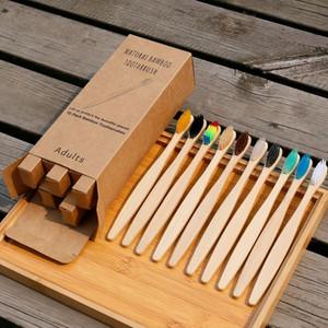 Nouveau style brosse à dents en bambou 10 pack avec la boîte Voyage réglée l'utilisation de l'hôtel jetable et biodégradable écologique