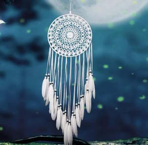 Ручной Lace Ловец сны Циркуляр с оперением висячего украшений Украшения Craft подарки крючок Белых Dreamcatcher колокольчики