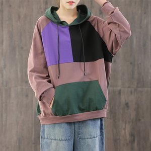 Women Sweatshirt 2020 Hooded Spring Contrast Color Big Size Pullovers Loose Pocket Long Sleeve Fashion Casual Women Coat