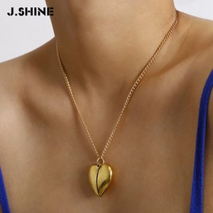 JShine Chic Open Locket Love Heart Pendant Necklace Statement Long Chain Word Tag Necklace for Women Jewelry Valentine Gift