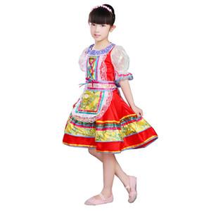 Atacado-russa Costumes Desempenho Nacional para Crianças Chinese Folk Dance Dress for Girls Dança Moderna Princess Dress