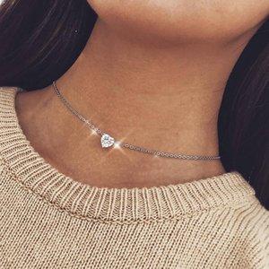 Cor prata colar de pingente de coração para as mulheres de cadeia curta colar de coração moeda choker colar de corrente colar de jóias de amor