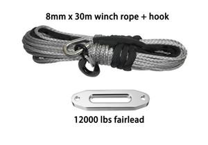 8mm * 30m sintético torno de cable cuerda de cable de UHMWPE con gancho y 12000lbs fairlead