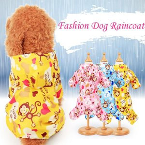 Drop Shipping Dog Raincoat For Small Dogs Waterproof Jumpsuit Pet Clothes Outdoor Clothing Cute Cartoon Dog Cat Hooded Raincoat
