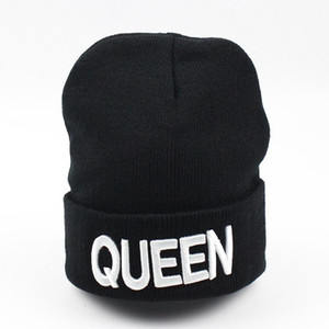 QUEEN KING Bonnet Sweety Couple Skullies Beanies Hats Man Woman Winter Warm Tricoted Brand Bonnet Valentine's Day Fashion