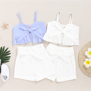 Mikrdoo Kids Baby Girl Summer New Arrival Fashion Clothes Set Strap Top + Shorts Solid Color 2PCS Outfit