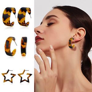 Sterne-Schildkröten-Farben-Ohrringe Leopard-Druck Acryl Essigsäure Blatt Geometrische Kreis-Tropfen baumeln Ohrringe für Frauen-Mädchen-Mode Schmuck