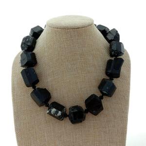 Black Tourmline Rough Necklace Nugget Natural Gems Pietra 18 '' 20x24MM
