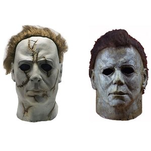 Latex Michael Myers Cosplay Halloween Full Horror Face Helmet Halloween Party Scary Props toy Home Decoration Accessories SH190922