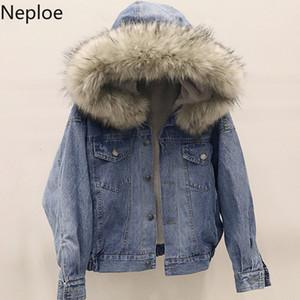 Neploe Kore Kalın Denim Ceket Kadın Kış Kısa Patchwork Öğrenci Hood chaqueta Mujer Sonbahar Gevşek Casaco Feminino 46309 SH190926