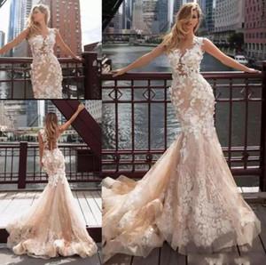 Очаровательная шампанское Русалка кружева свадебное платье экипаж шеи без рукавов 3D цветочные аппликация свадебные платья иллюзия обратно с кнопкой