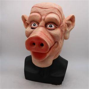 Смешной Террор Pig Маска высокого качества Latex PigHead Маски Headgear Halloween Party Люди питание и женщины используют Оптовую 35cs H1