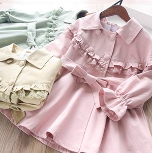Girls trench coat 2020 fall new kids beaded lace falbala lapel trench coat children double-breasted belt ruffle long outwear A1748