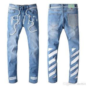 Erkek Sıkıntılı Biker Jeans Slim Fit Biker Motosiklet Denim İçin Erkekler Moda Balma Tasarımcı Hip Hop Erkek Jeans İyi Kalite BEM2 Ripped
