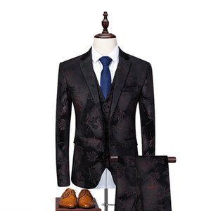 ( Jacket + Vest + Pants ) Slim Fit Floral Suits Sets For Men 2019 Prom Dress Male Wedding Bridegroom Suits With Flower Designs
