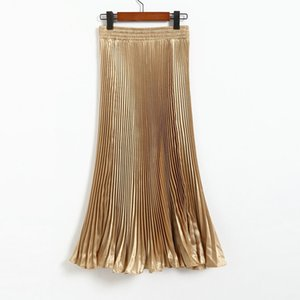 Métallique Lanon Skinny Jupes plissées de style européen surdimensionnée Grande pendule Femmes Midi Jupes Drapé brillant longues pour femmes