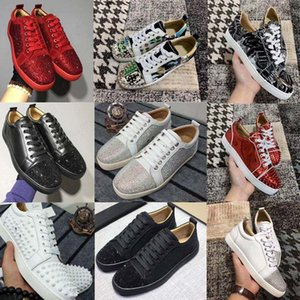 Fashion Luxury Red Bottom Men Women Casual Spikes Rivets Rhinestone Shoes Dress Party Walking Shoes Sneakers Chaussures De Sport With Box