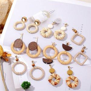Boucles d'oreilles européennes et américaines rotin géométrique corde de chanvre à la main en bois paille créative coréenne boucles rétro