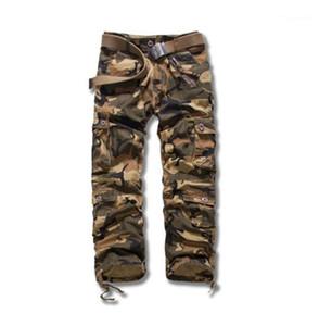 Calças Mens Primavera camuflagem calças cargo Big Pockets Zipper Fly Meninos Streetwears sólidos a granel Masculino Descontraído