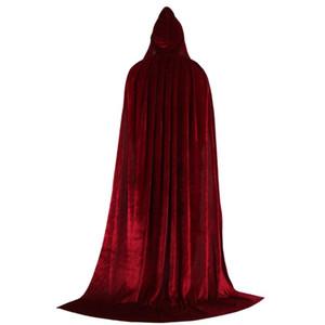 Encapuzados casaco longo de veludo do Cabo para o Natal Halloween Dress up Costumes 72XF