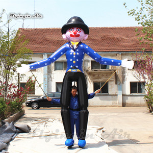Customized Controllable Inflatable Clown Marionette Puppet 3.5m Blue Walking Blow Up Clown Costume For Parade Decoration