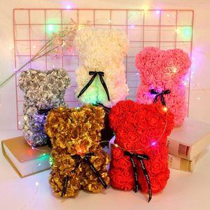PATIMATE 25см Красная роза Медвежонок День Святого Валентина Подарок для женщин Искусственные украшения Искусственные цветы Свадебные подарок на день рождения