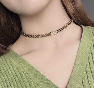 O mais recente material genuíno bronze colar de-venda quente embutidos cadeia carta CD e elegante e generoso 032-45