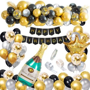 Balloons of Party Decorations Happy Birthday Confetti with Banner Black and Gold Giant Champagne Foil Balloons