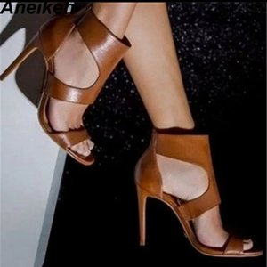 Aneikeh 2019 New Pointed PU Heels Summer Fashion Ladies Sexy Open Toe Zipper Bag With Party High Heel Sandals Brown Y200702
