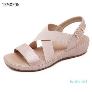 TEMOFON 2020 Sommer-Frauenschuhe Sandalen Peep Toe Gladiator-Sandalen Frauen beiläufige Keilschuhe Damen Schuhe Wohnungen 36-42 l03