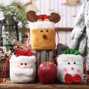 Bolsa de regalo de Navidad Bolsas de felpa con cordón Merry Chritmas Bolsas de regalo de dulces para fiesta festiva Apple Candy Wrapping Bag Supplies