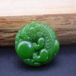 Factory Direct Outer Materials Xinjiang Hetian Jade White Jade Double-sided Fortune Treasure Pendant Wholesale Jade Crafts