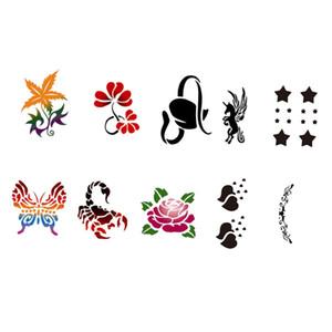 10 Styles Tier / Blumen Wiederverwendbare Gesicht Körper-Kunst-Malerei-Schablonen Tattoo Vorlage Kostüm Make-up für Festival-Party-Dekoration