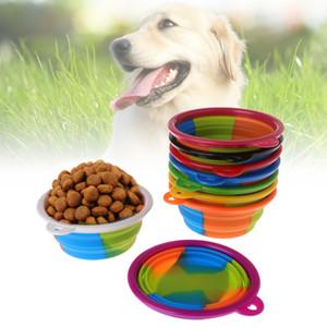 애완 동물 위장 접는 볼 실리콘 접을 수있는 접이식 개 강아지 그릇 카라비너 야외 여행 휴대용 애완 동물 개 사발 BH2838 TQQ