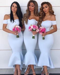 Baby Blue 2019 Off spalla pizzo sexy sirena abiti da damigella d'onore lunghezza abiti da cerimonia abito da sposa guest Robes de fête Vestidos