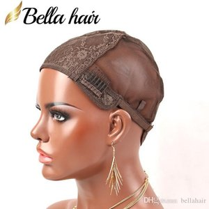 Dark Brown Double Lace Wig Caps For Making Wigs Hair Net with Adjustable Straps and Combs Wig Caps Swiss Lace Medium Size Bellahair