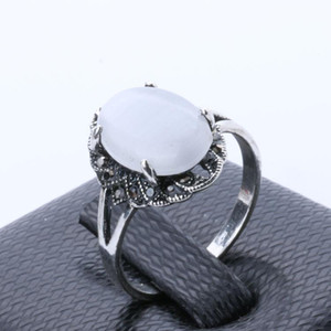 Rings for Women Jewelry Cheap Silver White Oval Opal Ring Engagement Wedding Rings