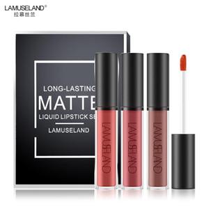 3Pcs Lot 12 Colors Waterproof Long-Lasting Matte Lipstick Lip Gloss 3.5g Makeup Brand LAMUSELAND #LA03
