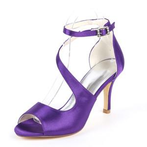 Creativsugar dama de la moda vestido de satén sandalias zapatos tobillo correa curva fiesta de bodas prom tacones berenjena rubor azul marino