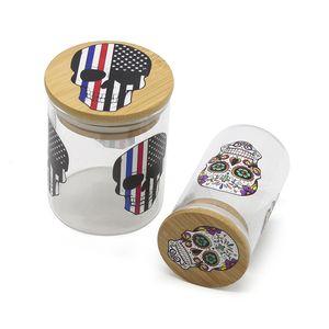 Camlı Pot Kuru Ot Kavanozları Kafatası Patterns ile Kuru Ot Konteyner 67 * 87mm 50 * 87mm Opsiyonel Ahşap Kapak Cap Seal Kutular