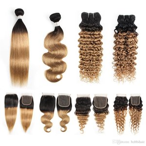1B27 Ombre honey blonde Human Hair Bundles With Closure 3 or 4 Bundles Peruvian Straight Body Wave Deep Curly Water Wave hair Extensions